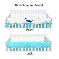 Brandream Baby Boy Crib Rail Cover Protect Safe Teething Guard Cotton 1 Pack Long Front Crib Warp Guard Dinosaur Collection Nursery Bedding Sets, Navy/White