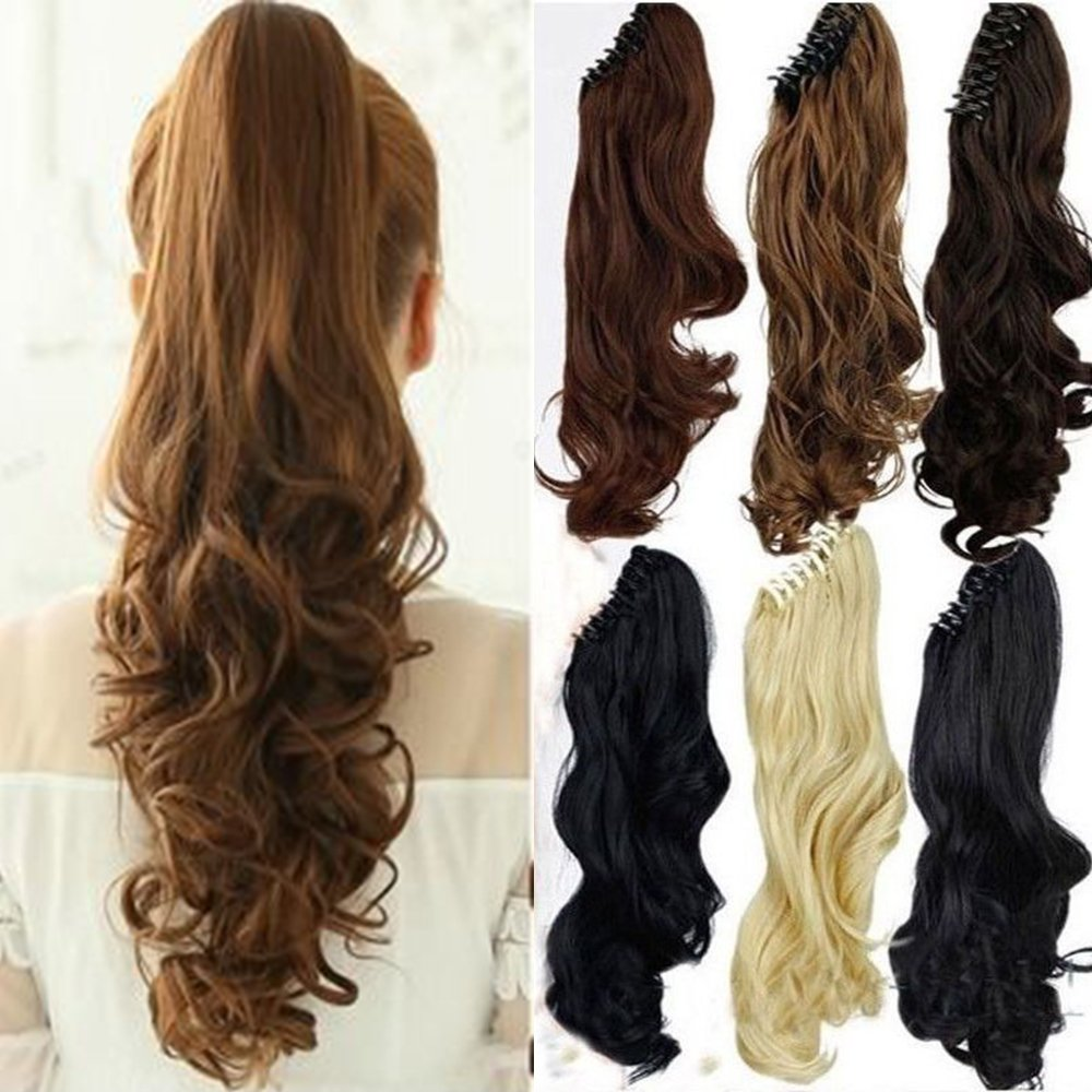 Claw Ponytail Extension Short Curly Wave 145G Thick Jaw Ponytails Pony Tail Hairpiece Clip in Hair Extensions Real Natural as Human Synthetic Fibre for Women 18 inch jet black