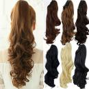 Claw Ponytail Extension Ombre Straight Jaw Ponytails Pony Tail Hairpiece Clip in Hair Extensions Real Natural as Human Synthetic Fibre for Women 145G Thick Long 26 inch dark brown & sandy brown