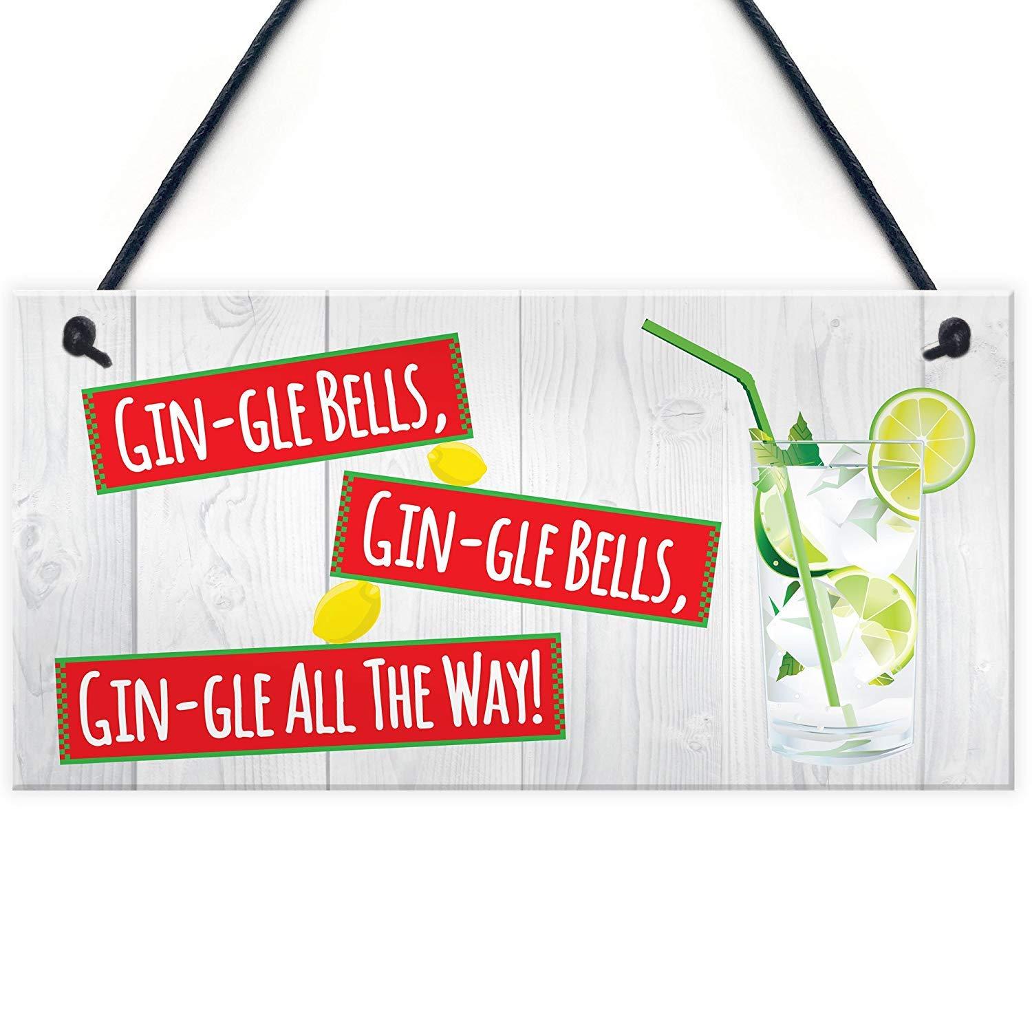"""Meijiafei Gin-gle Bells Funny Alcohol Christmas Gin Tonic Gift Hanging Plaque Drink Sign 10"""" X 5"""""""