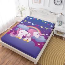 Oliven Unicorn Fitted Sheet Twin for Girls,Cartoon Banner Rainbow Unicorn Deep Pocket Sheet 1 PC,Purple