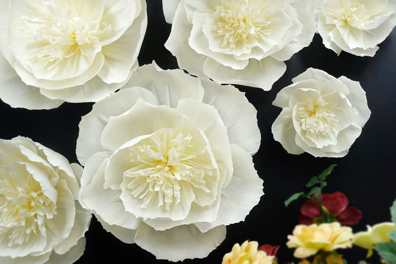 Letjolt Beige Paper Flower Decorations for Wall Backdrop Wedding Birthday Party Baby Shower Bridal Shower Nursery Wall Decor(Beige Set 6)