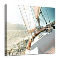"""Sailboat Picture Seascape Wall Art: Nautical Artwork Print on Canvas Painting for Bedrooms (16""""x 12""""x1 Panel)"""