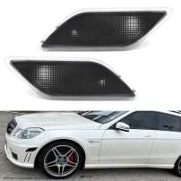 iJDMTOY OEM-Spec Euro Smoked Lens Front Bumper Side Marker Lamp Housings Compatible With 2010-2013 Mercedes W212 Pre-LCI E-Class E350 E550 E63 AMG Sedan/Wagon