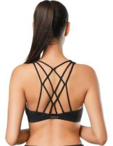 Dragon Fit Womens Double Tap Sports Wirefree Bras - Medium Support Strappy Crossback Padded Workout Yoga Bra Gym Activewear