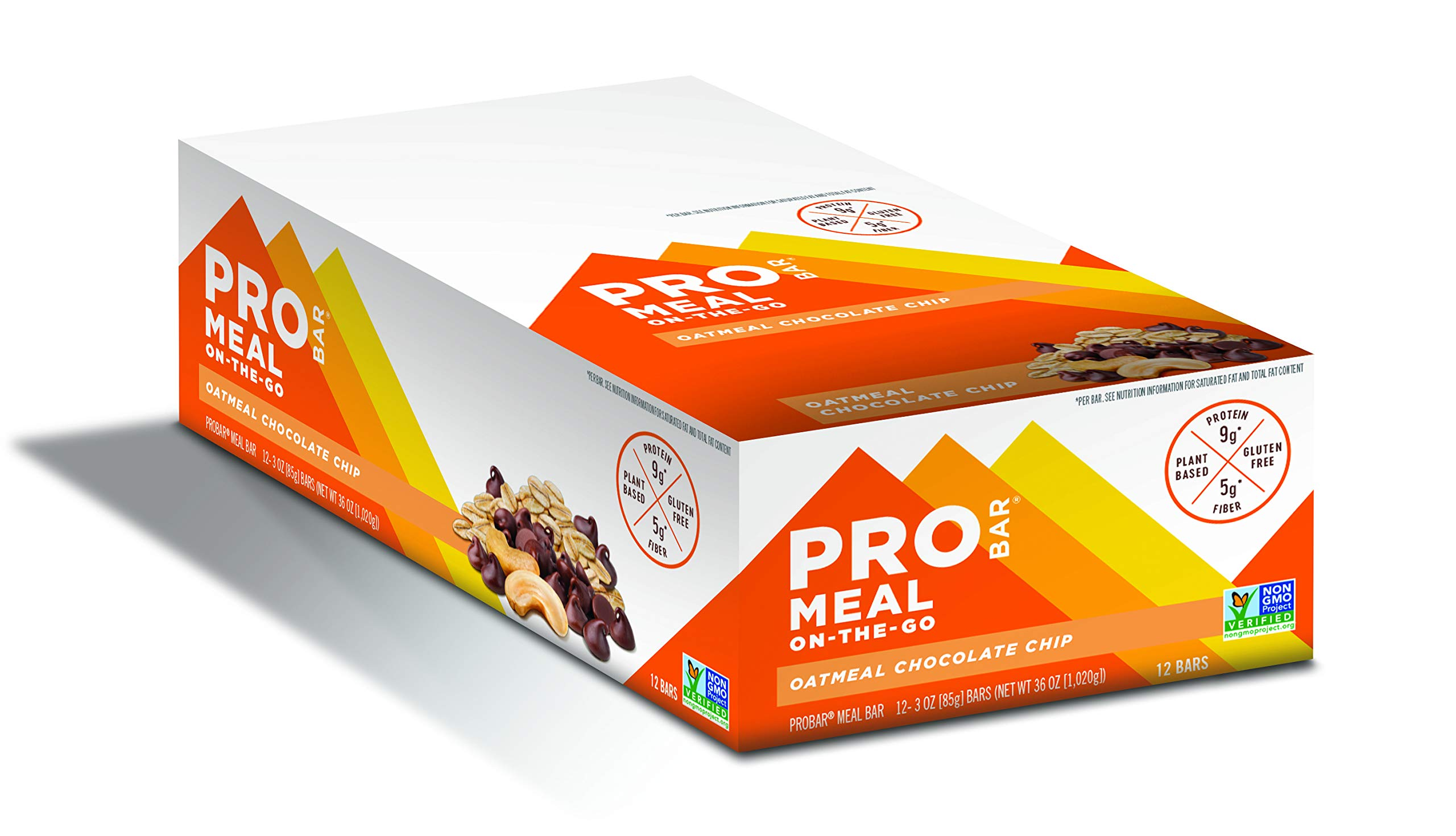 PROBAR - Meal Bar, Oatmeal Chocolate Chip, Non-GMO, Gluten-Free, Certified Organic, Healthy, Plant-Based Whole Food Ingredients, Natural Energy (12 Count)