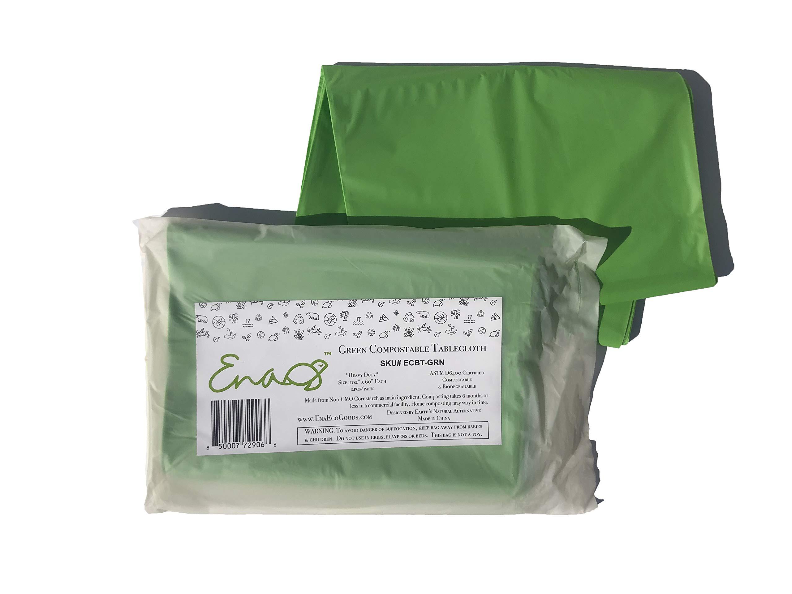 Earth's Natural Alternative ECBT-GRN Eco Friendly Compostable Tablecloth, 102x60, Green