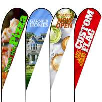 Anley Custom Advertising Teardrop Flag 2.5 X 5.5 Ft Double Sided - Print Your Own Logo/Design/Words - Indoor & Outdoor Commercial Banners Flags (Include Flagpole + Cross Base + Water Bag)