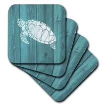 3dRose Turtle Stencil in White over Teal Weatherboard- not real wood - Soft Coasters, set of 8 (cst_220428_2)