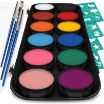 Vibrant Face and Body Paint Kit - Magical Set of 12 Stunning Colors w / 3 Brushes and 30 Artistic Stencils for All Your Face and Body Art - Non Toxic, Water Based and FDA Compliant