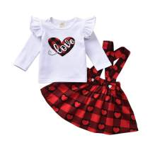 Toddler Baby Girls Valentine's Day Outfits Suspender Skirt Striped Plaid Love Heart Dresses