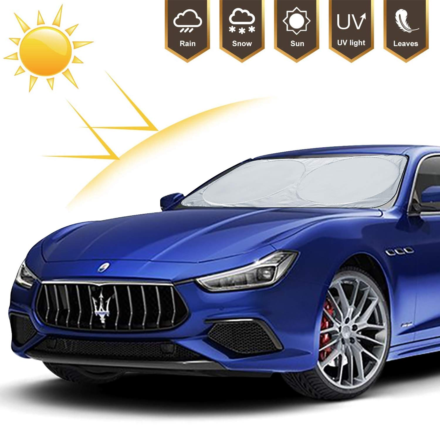 Adoric Life Car Windshield Sunshade Front Window, 500T Reflective Polyester Blocks Heat and Sun. UV Protector Shields Foldable & Keeps Vehicle Cooler