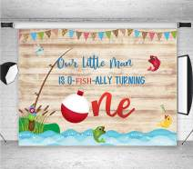 O-Fish Ally Fish Birthday Photo Backgrounds 7x5ft Rustic Wooden Boards Boys Go Fishing First Birthday Party Photography Backdrops Boys or Girls Cake Table Background Photo Studio Booth Props Vinyl