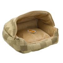 K&H Pet Products Hooded Lounge Sleeper Pet Bed Tan Patchwork