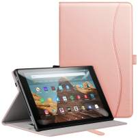 ZtotopCase Flre HD 10 Tablet Case for (2019/2017,9th/7th Gen) - Ultra-Thin High-Grade Leather Multi-Angle Folding Case with Automatic Wake/Sleep Function - Pink Gold