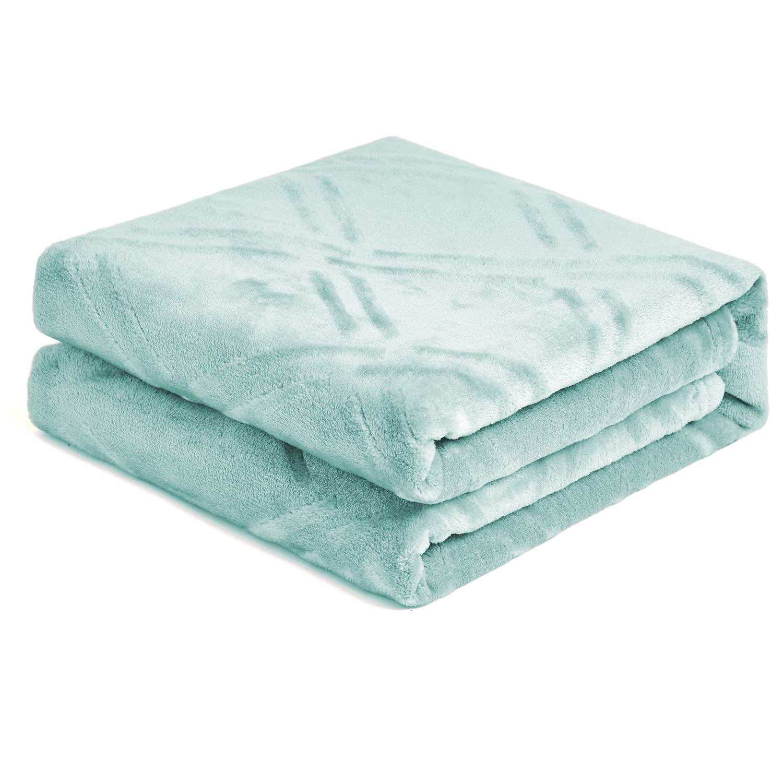 "HT&PJ Super Soft Lightweight Flannel Fleece Throw Blanket Microfiber Velvet Cozy Warm Throw Blanket for Living Room (Throw 50"" X 60"" Coral Green)"