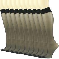 INCHER Women Girl's Sheer Knee High Socks, Reinforced Toe Mid-Calf School Uniform Stockings, 3,10,20 Pairs, Shoes Size 4-12
