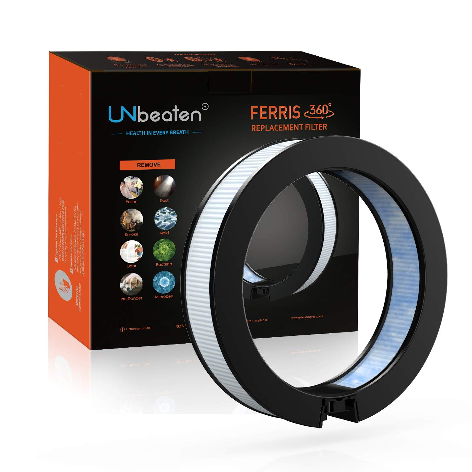 UNbeaten Air Purifiers Filter Ferris 360 Antimicrobial True Hepa Filter Removes Allergies and Pets Dander Smoke Dust Mold