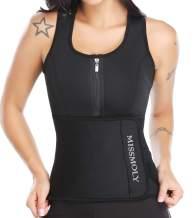Vaslanda Neoprene Sweat Sauna Vest Waist Trainer Tank Top Weight Loss Body Shaper with Zipper and Adjustable Belt