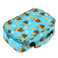 BTSKY High Capacity Zipper Pens Pencil Case with Pattern-Multi-Functional Stationery Pencil Pouch Stretchy Slots for 72 Colored Pencils New (Bee)