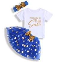 Toddler Baby Kid Girls Big Sister Outfits Short Sleeve T-Shirt Top+Tutu Skirt with Headband Clothing Set