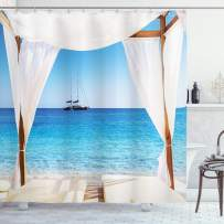 "Ambesonne Balinese Shower Curtain, Beach Through Balinese Bed Summer Sunshine Clear Sky Honeymoon Natural Spa Picture, Cloth Fabric Bathroom Decor Set with Hooks, 75"" Long, Aqua Caramel"