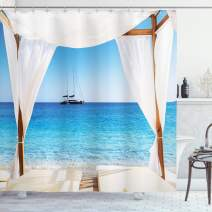 "Ambesonne Balinese Shower Curtain, Beach Through Balinese Bed Summer Sunshine Clear Sky Honeymoon Natural Spa Picture, Cloth Fabric Bathroom Decor Set with Hooks, 75"" Long, Aqua Caramel"