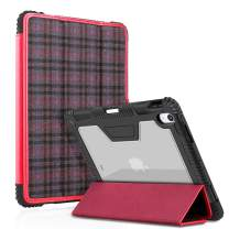 BIGPHILO [SPA Series] Heavy Duty Protective Case for iPad Pro 11 inch (2018), Rugged Transparent Back Case + Trifold Fabric Front Cover, [Built-in Pencil Holder] Clear Case for iPad Pro - Plaid/Red