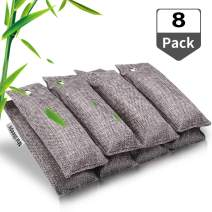 Marsheepy 8 Pack Activated Bamboo Charcoal Air Purifying Bags, Activated Charcoal Odor Absorber, Odor Eliminator for Car, Pet, Closet, Bathroom (75g per Pack)