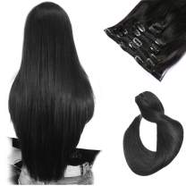 Ubetta Hair Extensions Clip in Human Hair Natural Black 70 Gram 7 Pieces Silky Straight Weft Remy Real Hair Clip on Extensions for Women20 Inch #1B