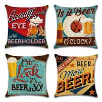 Asamour 4 Pack Retro Beer Pattern Cotton Linen Throw Pillow Case Funny Letters Saying Decorative Cushion Cover 18x18 Inches Best Gift for Beer Lovers (4 Pack Beer Style)