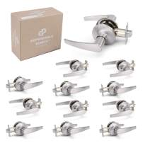 12 Pack of Straight Door Handle Lever Sets - Passage for Hallway, Closet - Satin Nickel