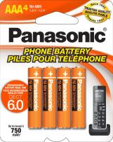 Panasonic Genuine HHR-4DPA/4B AAA NiMH Rechargeable Batteries for DECT Cordless Phones, 4 Pack