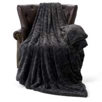"""HT&PJ Fluffy Faux Fur Throw Blanket Reverse Plush Sherpa Thick Warm Soft for Sofa Bedroom Decor Twin Size Solid (Dark Charcoal, 60""""X80"""")"""