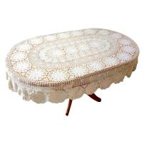 """USTIDE Vintage Oval Crochet Tablecloth Beige Cotton Lace Table Cover Rustic Oval Table Overlays for Wedding/Party 80""""x120"""""""