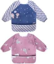 Viedouce Baby Sleeved Bib Aprons Waterproof Smocks for Toddler with Front Pocket, Blue Red