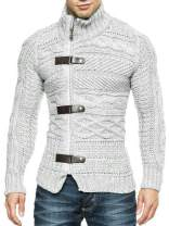 Hestenve Mens Cable Knitted Cardigan Sweater Turtleneck Long Sleeve Zipper Winter Sweaters