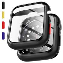 EGV 2 Pack Tempered Glass Case Compatible with Apple Watch Series 6 / SE/Series 5 / Series 4 44mm Screen Protector, Replaceable Buttons, All-Around Bumper Protective, Silicone Protector Cover-Black
