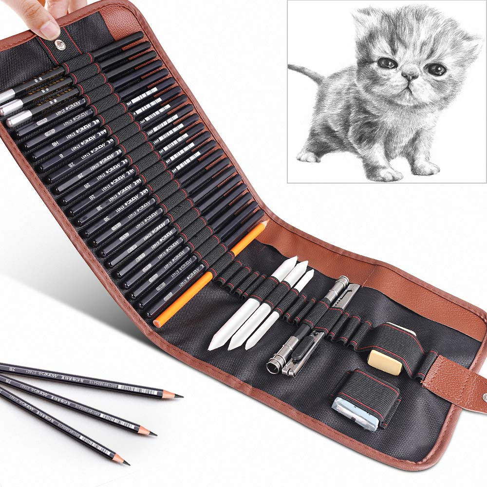 29 Pieces Drawing Pencils Set for Students,GOLP Perfect for Beginners Sketch Pencils Kit,Sketching Supplies,Art Pencils,Drawing Pen,Graphite Charcoal Pencil,Erasers and Paper Pens