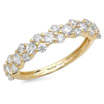 0.90 CT Cluster Round Cut CZ Unisex Pave Designer Classic Band Ring Solid 14K Yellow Gold