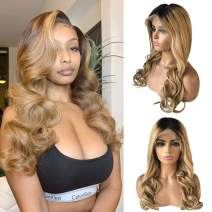 """Long Lace Front Human Hair Ombre Wigs 26"""" 2 Tone Glueless 13x6 Frontal Deep Middle Part Lace Wigs Pre Plucked with Baby Hair Brazilian Natural Curly Real Human Hair Wigs for Women"""