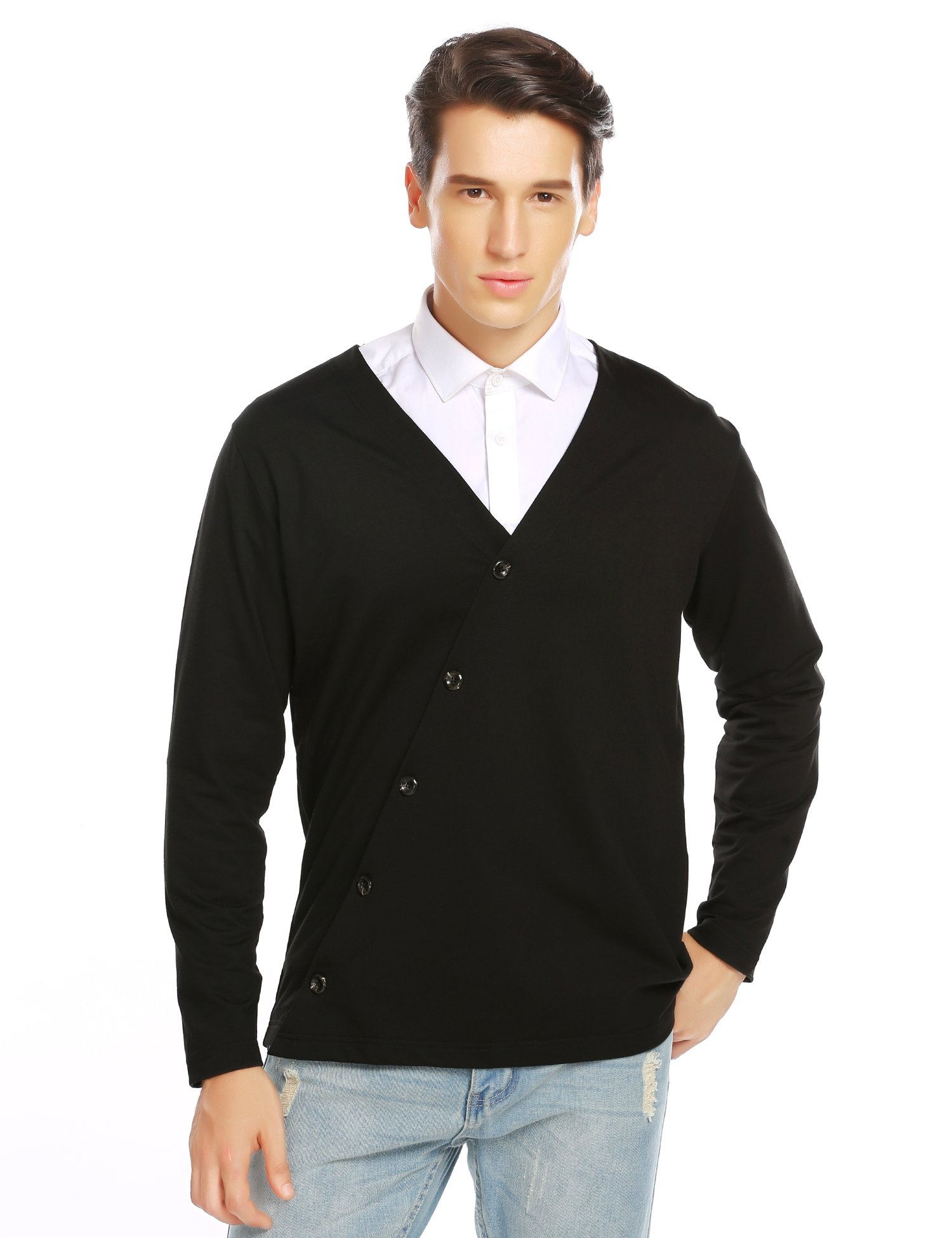COOFANDY Men's Oblique Collar Button Front Casual Stylish Cardigan