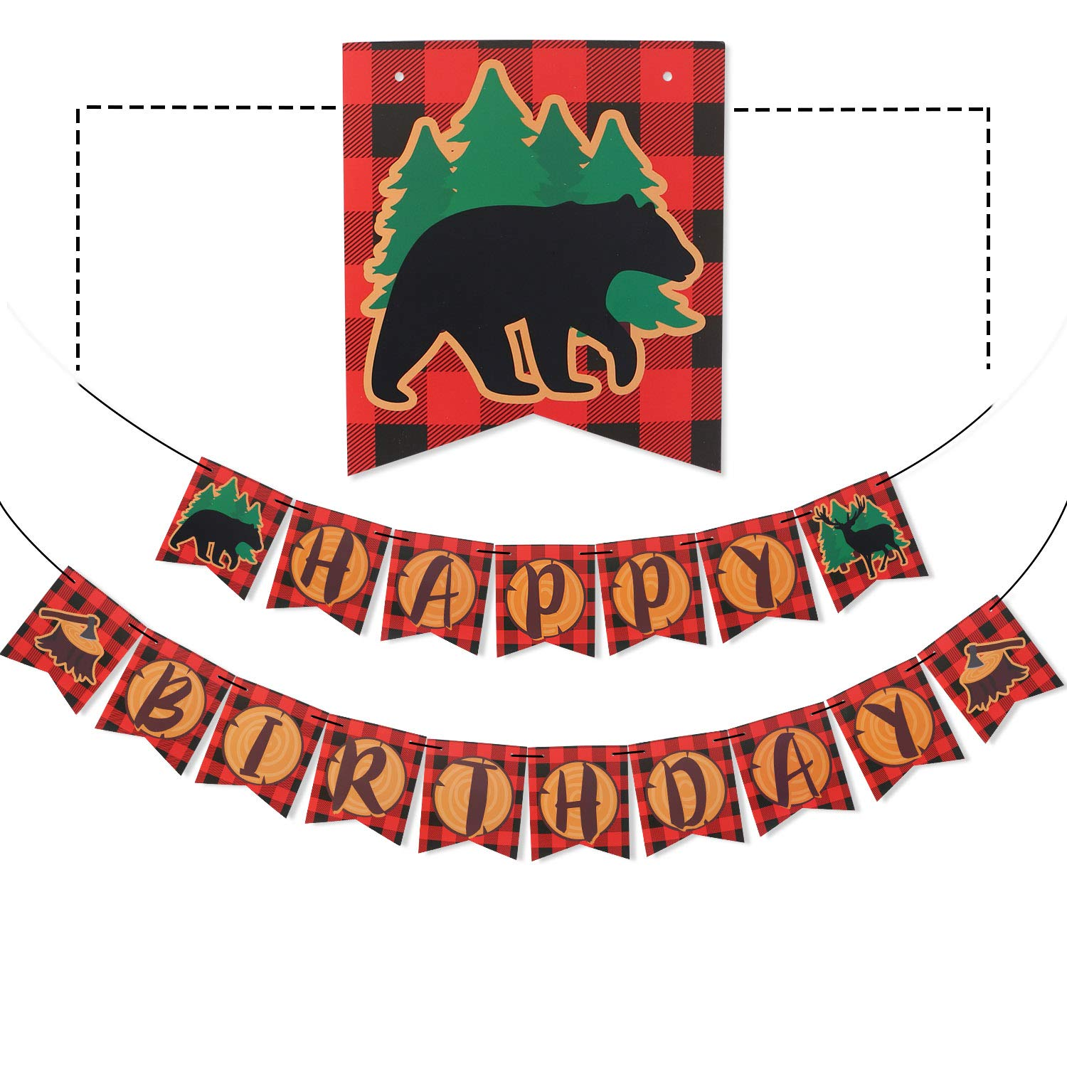 Levfla Camping Themed Happy Birthday Banner, Lumberjack Woodland Party Supplies ,Buffalo Deer Red Plaid Party Decoration