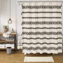 Uphome Tassel Shower Curtain Boho Beige and Black Geometric Striped Fabric Shower Curtain Set with Hooks Chic Bathroom Decor,Heavy Duty Waterproof, 72x72