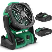 Portable Fan Rechargeable, KIMO 10-Inch 20V 2.0Ah Battery Operated Fan, IP54 Outdoor Camping Fan w/Hook & Variable Speed, Personal Desk Fan Cordless Fan for Jobsite/Tent/Travel/Bedroom/Table/Garage