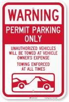"SmartSign ""Warning - Permit Parking Only, Towing Enforced"" Sign 