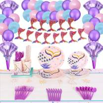 Mermaid Birthday Party Supplies Decorations Kit Favors- Serve 10 Guests- 122 Pcs, Birthday Packs Includes Flatwares, Tablecloth, Banner, Balloons, Gift for Girl's Kids Under the Sea Party and Alice Baby Shower Decor