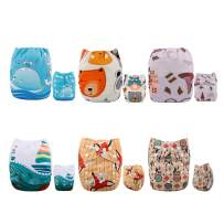 ALVABABY New Design Reuseable Washable Pocket Cloth Diaper 6 Nappies + 12 Inserts 6DM24