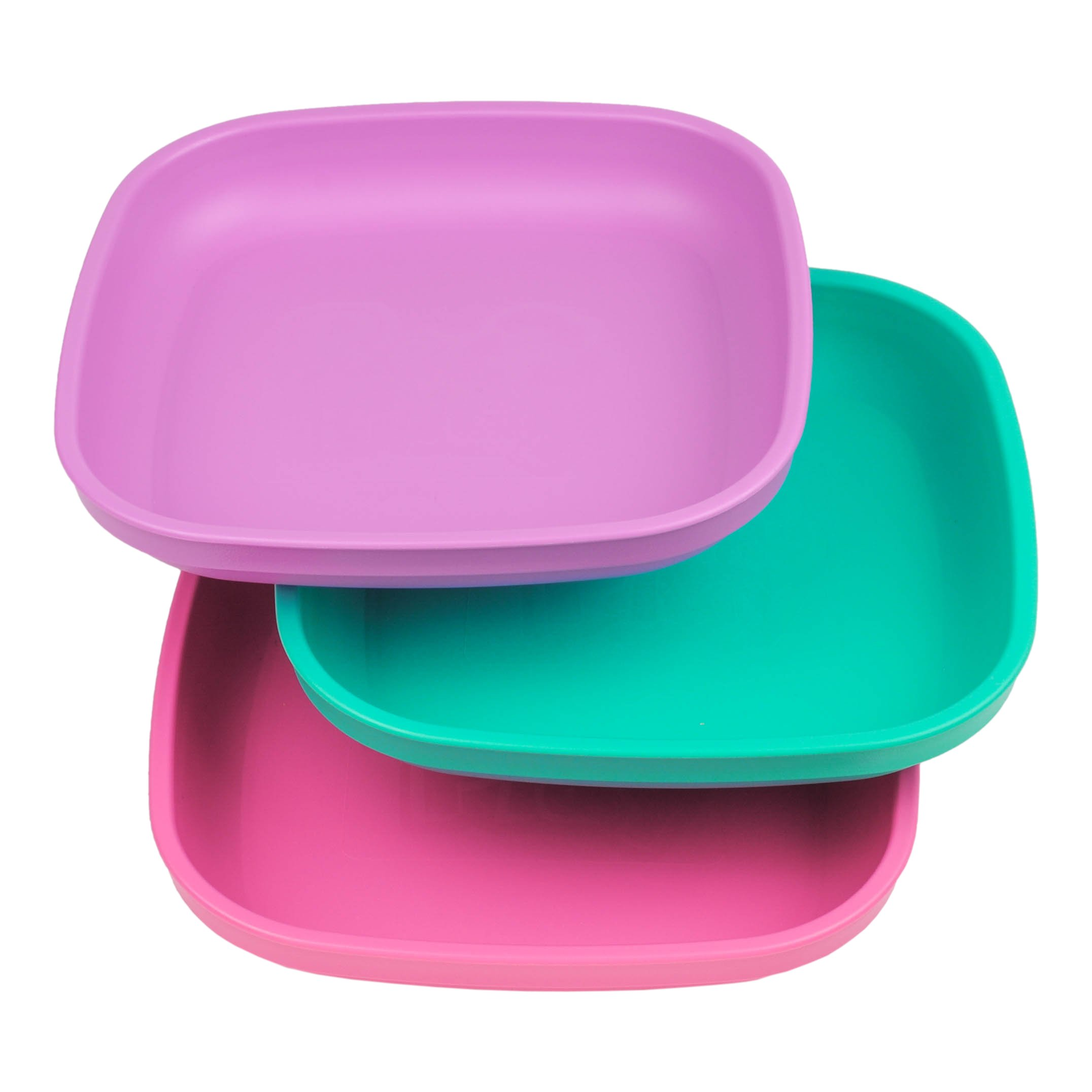 Re-Play Made in USA 3pk Plates with Deep Sides for Easy Baby, Toddler, Child Feeding - Purple, Aqua, Bright Pink (Sparkle)
