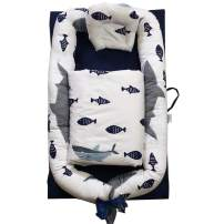 Portable Crib Baby Portable Lounger Infant Bassinet Reversible Co Sleeping Cribs for Bedroom/Travel (Fish)